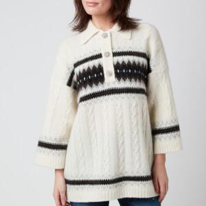 Ganni Women's Alpaca Knit Top - Egret