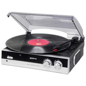 Groov-e GVTT01BKVintage Vinyl Record Player with Built-in Speakers - Black