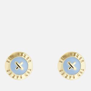 Ted Baker Women's Eisley: Enamel Mini Button Earrings - Gold/Light Blue