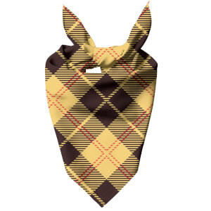 Yellow, Red & Black Cross Tartan Dog Bandana