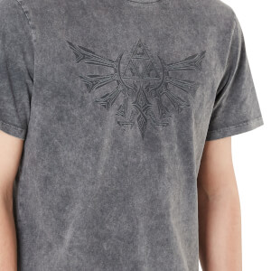 Legend Of Zelda Crest Of Hyrule Unisex T-Shirt - Black Acid Wash