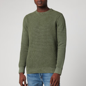 Superdry Men's Academy Dyed Texture Crewneck Jumper - Washed Dark Olive Green