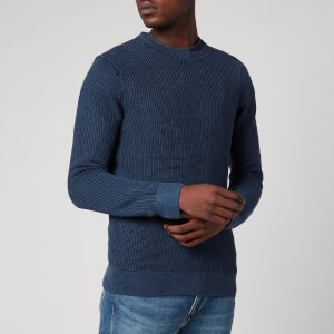Superdry Men's Academy Dyed Texture Crewneck Jumper - Washed Dark Storm Navy