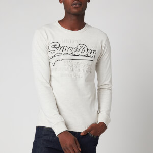 Superdry Men's Vintage Logo Embossed Long Sleeve T-Shirt - Queen Marl
