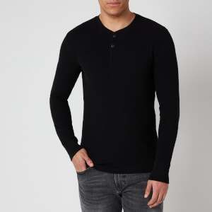 Superdry Men's Micro Texture Henley Half Zip Jumper - Black