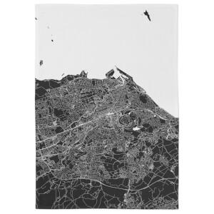 Negative Edinburgh City Map Tea Towel