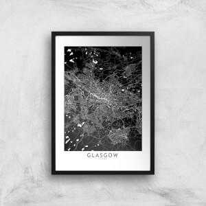 Negative Glasgow City Map Giclee Art Print