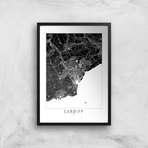 Negative Cardiff City Map Giclee Art Print