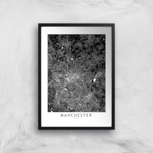 Negative Manchester City Map Giclee Art Print