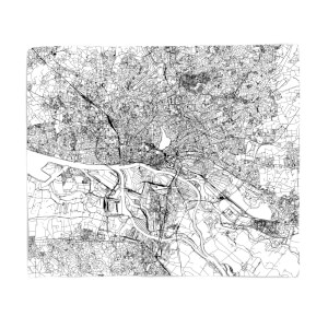 Hamburg City Map Fleece Blanket
