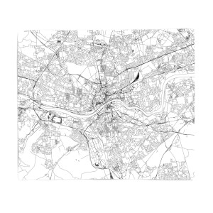 Newcastle City Map Fleece Blanket