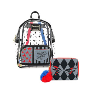 Loungefly Dc Comics Birds Of Prey Harley Clear Mini Backpack and Wallet Set