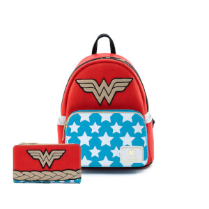 Loungefly Dc Comics Dc Comics Vintage Wonder Woman Cosplay Mini Backpack and Wallet Set