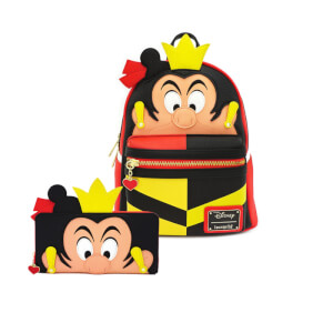 Loungefly Disney Queen Of Hearts Faux Leather Mini Backpack and Wallet Set