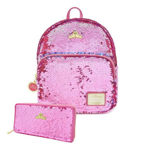 Loungefly Disney Sleeping Beauty Reversible Sequin Mini Backpack and Wallet Set