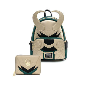 Loungefly Marvel Loki Classic Cosplay Mini Backpack and Wallet Set
