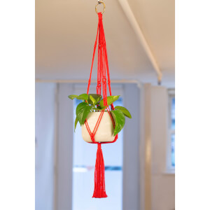 Kikkerland Red Macrame + Cement Planter