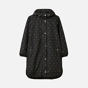Joules Women's Rainwell Print Waterproof Raincoat - Black Gold Bee