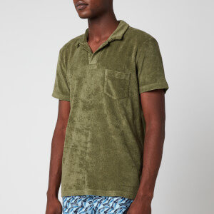Orlebar Brown Men's Terry Towelling Polo Shirt - Olive
