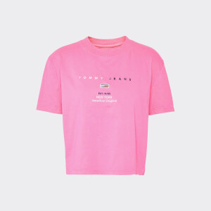 Tommy Jeans Women's TJW Small Logo Text T-Shirt - Pink Glo