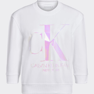 Calvin Klein Jeans Women's Iridescent Monogram Crew Neck Sweatshirt - Bright White
