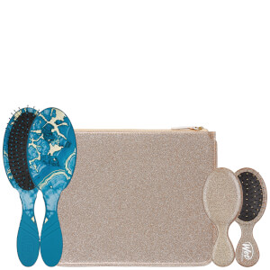 WetBrush Glitter And Go Detangling Set With Pouch - Blue (Worth £39.99)