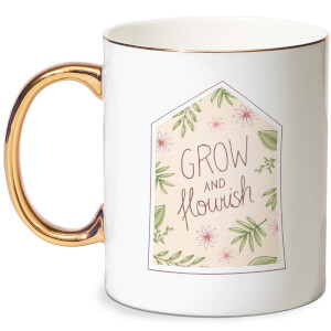 Grow And Flourish Bone China Gold Handle Mug