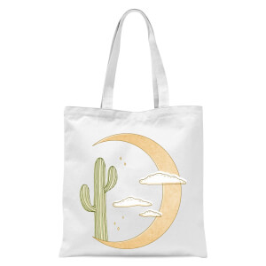 Moon Cactus Tote Bag - White