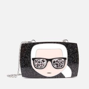 Karl Lagerfeld Women's Ikonik Karl Glitter Minaudiere - Black