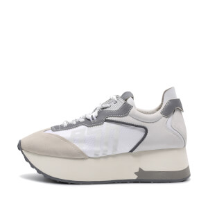 Ash Women's Roxy Suede Nylon Trainers - Salt/White/Silver