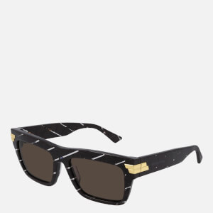 Bottega Veneta Women's Rectangle Acetate Sunglasses - Burgundy/PINK