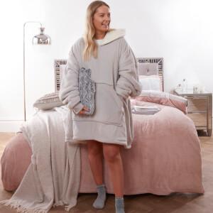 Super Soft Sherpa Hoodie Fleece Blanket - Silver