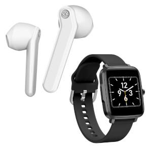 Mixx Streambuds AX TWS Earphones - White + Smart Watch - Bundle