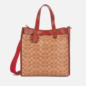 Coach Women's Signature/Horse and Carriage Canvas Mix Field Tote Bag - Tan Brown Rust