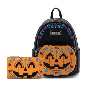 Loungefly Halloween Pumpkin Mini Backpack and Wallet Set