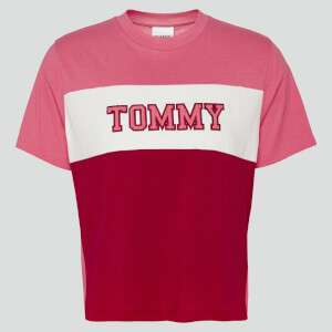 Tommy Jeans Women's Tjw Colorblock Stripe T-Shirt - Glamour Pink/Multi