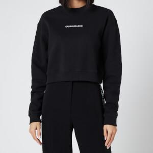 Calvin Klein Jeans Women's Back Monogram Crop Sweatshirt - Ck Black