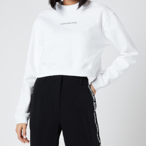 Calvin Klein Jeans Women's Back Monogram Crop Sweatshirt - Bright White