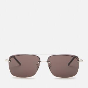 Saint Laurent Men's Sl 417 Metal Aviator Sunglasses - Silver/Black
