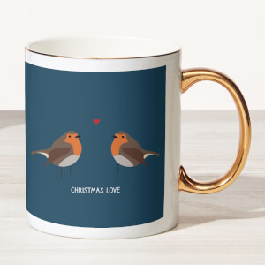 Robin Love Bone China Gold Handle Mug