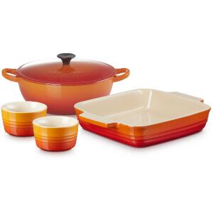 Le Creuset Stoneware Soup Pot, Square Dish and Ramekins Set - Volcanic
