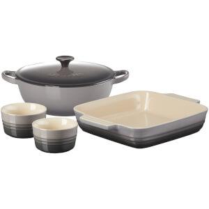 Le Creuset Stoneware Soup Pot, Square Dish and Ramekins Set - Flint