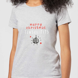 Disco Merry Christmas Tinsel Tits Women's T-Shirt - Grey