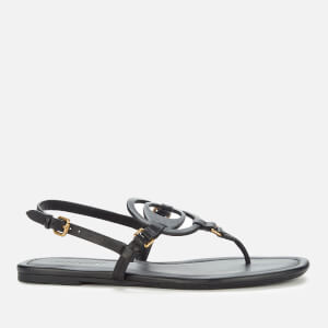 Coach Women's Jeri Leather Toe Post Sandals - Black