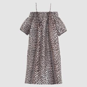Ganni Women's Crispy Jacquard Midi Dress - Phantom