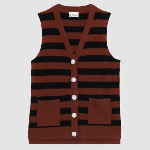 Ganni Women's Cashmere Knitted Sleeveless Waistcoat - Toffee