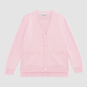 Ganni Women's Wool Knit Cardigan with Pockets - Cherry Blossom