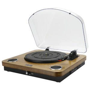 AIWA GBTUR-120WD Music Centre/Record Player with Built in Speakers, FM and Wireless - Wood