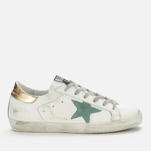 Golden Goose Deluxe Brand Women's Superstar Leather Trainers - White/Green/Gold