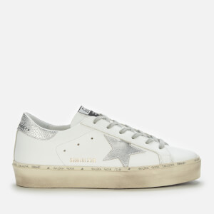 Golden Goose Deluxe Brand Women's Hi-Star Leather Flatform Trainers - White/Silver